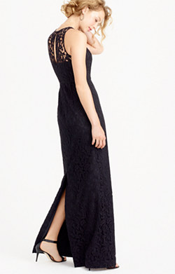 Pamela long dress in Leavers lace