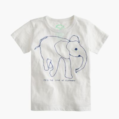 Girls' crewcuts for David Sheldrick Wildlife Trust elephant T-shirt