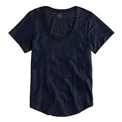 Metallic linen scoopneck T-shirt