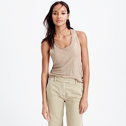 Linen tank top in metallic