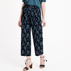 Cropped wide-leg trouser in ikat
