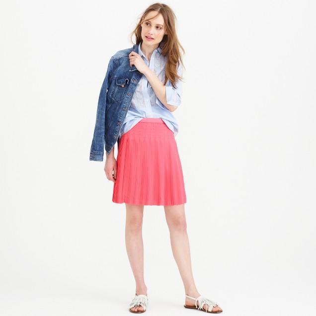 Stitched-down pleated mini skirt