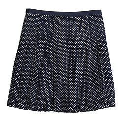 Stitched-down pleated mini skirt in grid dot