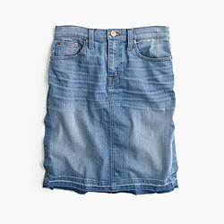 Petite frayed denim pencil skirt