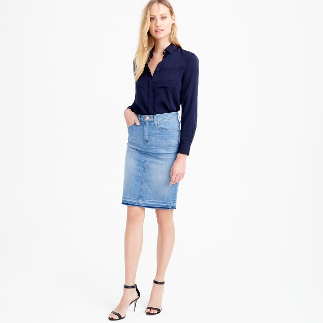 Petite frayed denim pencil skirt