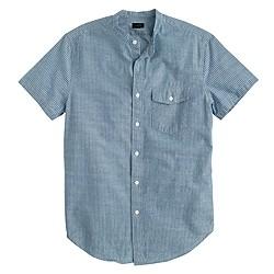 Secret Wash short-sleeve band-collar shirt in deep cove stripe