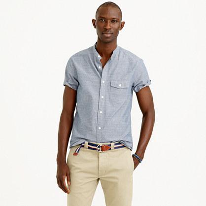 Secret wash short sleeve band collar chambray shirt band for Mens big and tall banded collar shirts