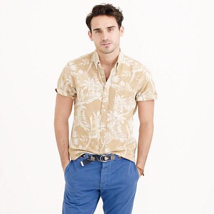 Wallace & Barnes short-sleeve floral jacquard shirt