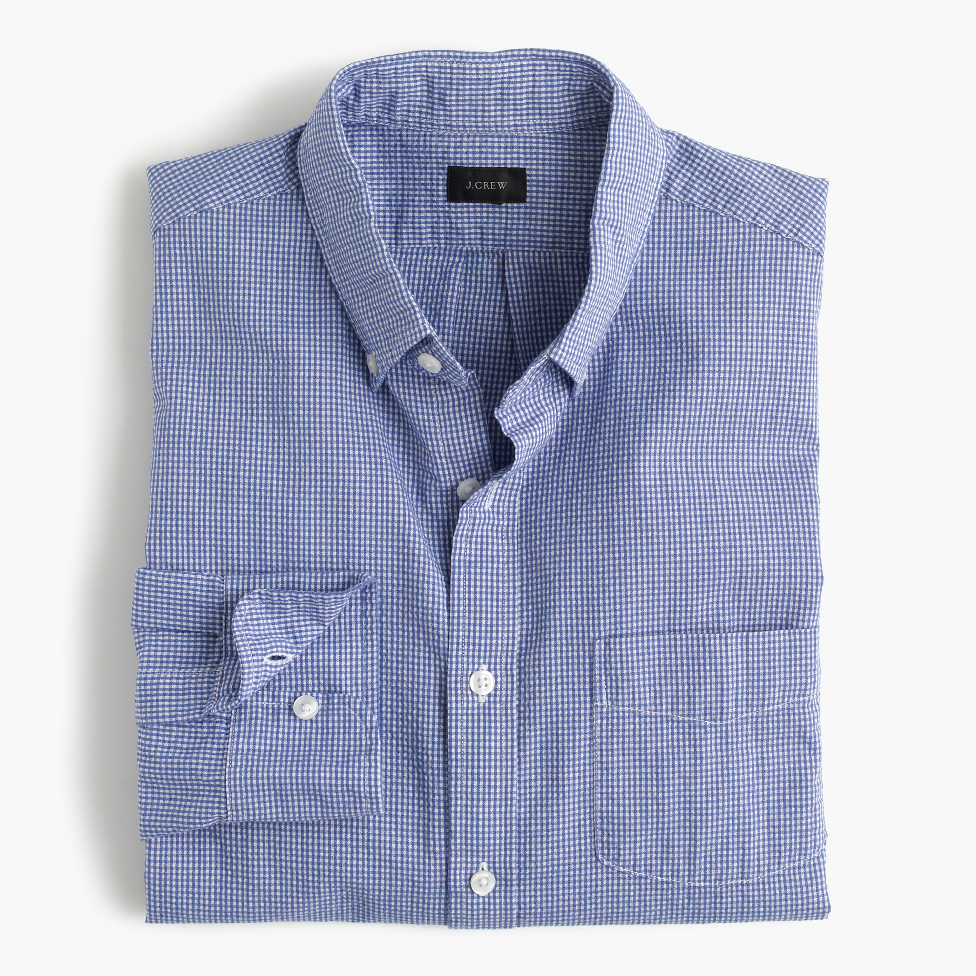 slim seersucker shirt in microgingham j crew. Black Bedroom Furniture Sets. Home Design Ideas