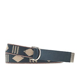 Cotton web belt in geometric pattern
