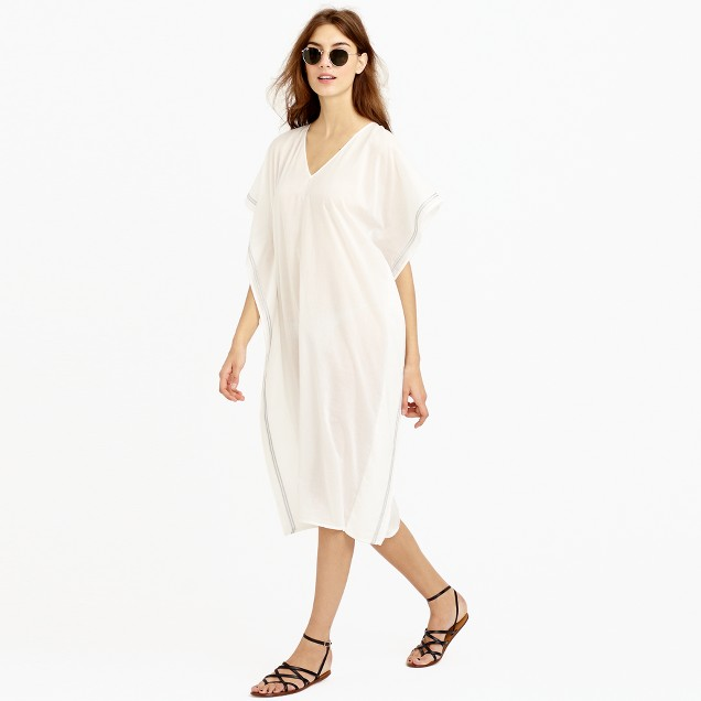 Metallic-trim beach caftan
