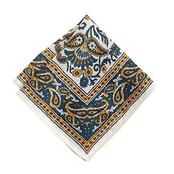 Linen pocket square in batik floral