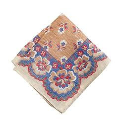 Linen pocket square in medallion floral
