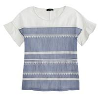 Embroidered flutter-sleeve T-shirt