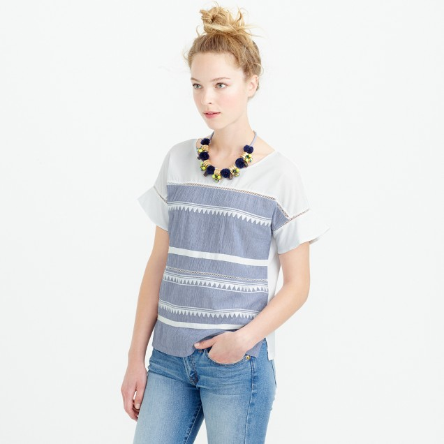 Embroidered flutter sleeve t shirt j crew for How to embroider t shirts