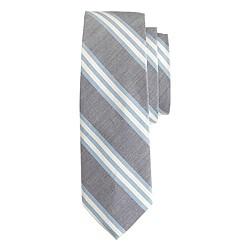 Cotton-silk tie in navy stripe