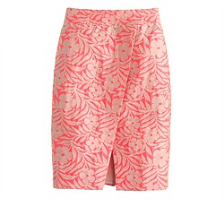 Crossover pencil skirt in plumeria jacquard
