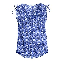Sleeveless beach tunic in zigzag ikat