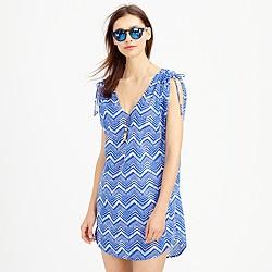 Sleeveless beach tunic in zigzag ikat