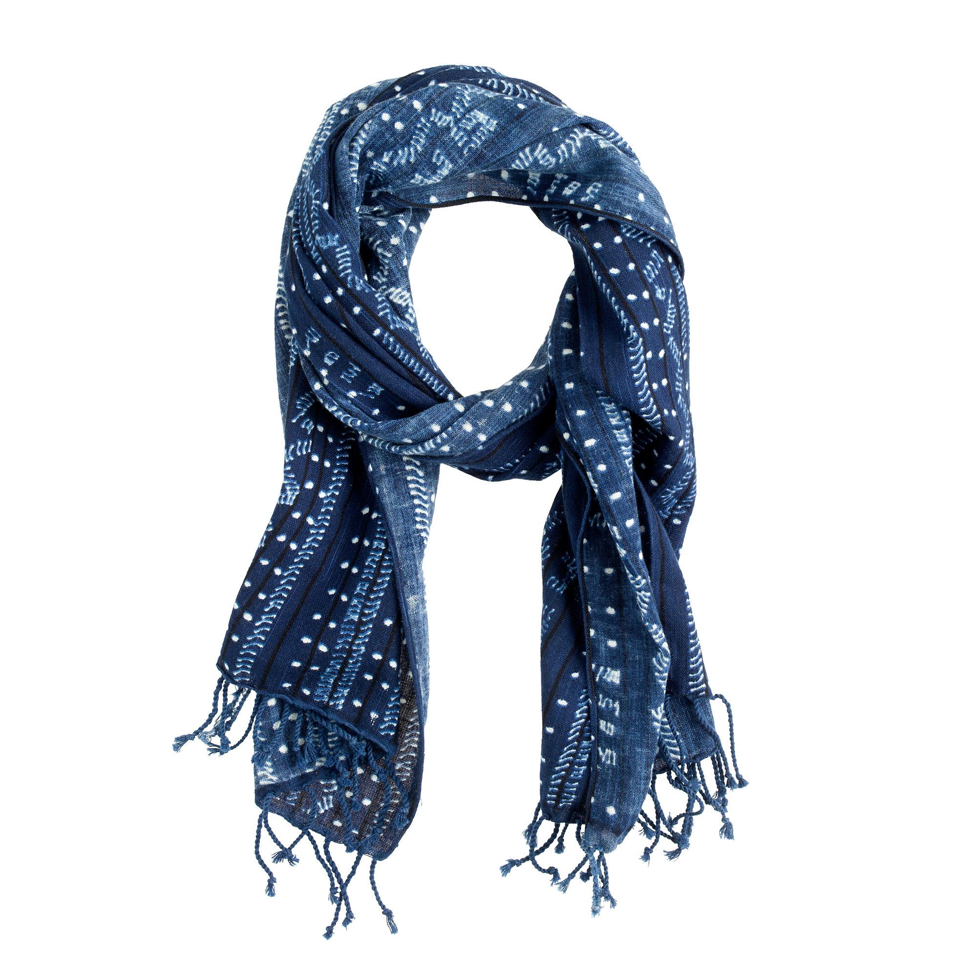 indigo batik cotton scarf j crew