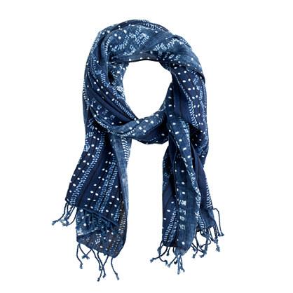 Indigo batik cotton scarf