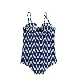 Zigzag ikat underwire one-piece swimsuit
