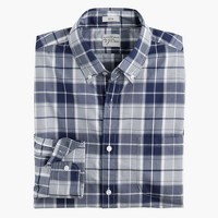Slim Secret Wash shirt in end-on-end imperial blue check