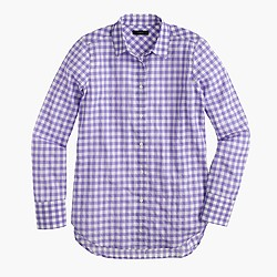 Petite boy shirt in crinkle gingham