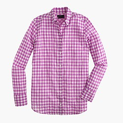 Tall boy shirt in crinkle gingham