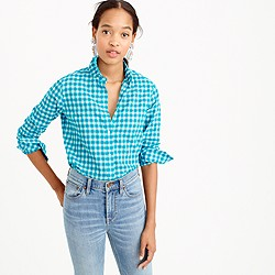 Petite boy shirt in crinkle gingham