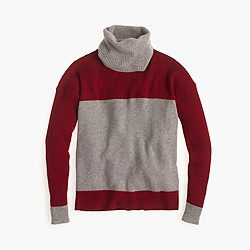 Collection cashmere two-tone turtleneck sweater