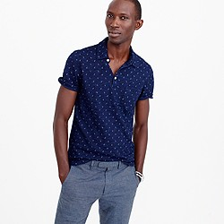 Wallace & Barnes anchor print indigo polo shirt