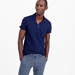 Wallace & Barnes anchor print indigo polo shirt