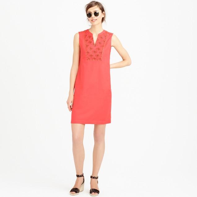 Sleeveless embroidered sunburst dress