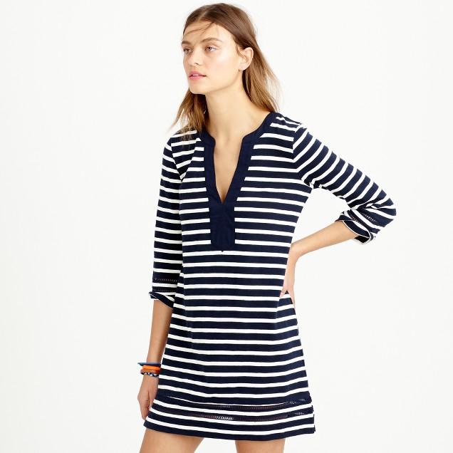 Embroidered three-quarter sleeve beach tunic in stripe
