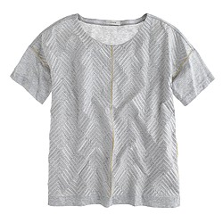 Embroidered herringbone T-shirt