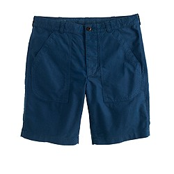 Military utility short in garment-dyed oxford