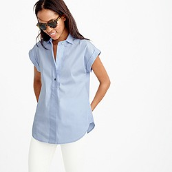 Petite short-sleeve popover shirt in oxford blue