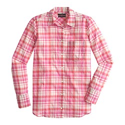Boy shirt in pink crinkle plaid
