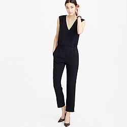 Tall drapey oxford crepe V-neck jumpsuit