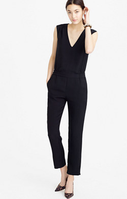 Drapey oxford crepe V-neck jumpsuit