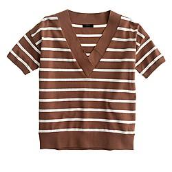 Striped short-sleeve V-neck sweater