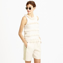 Collection linen pull-on short with chain mail tux stripe