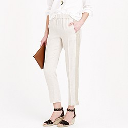 Collection linen pull-on pant with chain-mail tux stripe