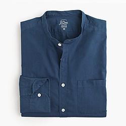 Indigo band-collar shirt