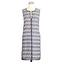 Tall sleeveless shift dress in zigzag ikat