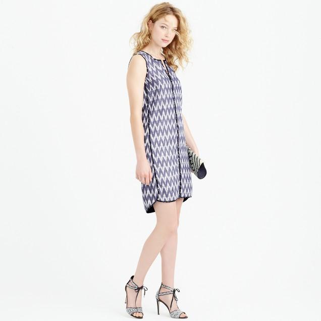Sleeveless shift dress in zigzag ikat