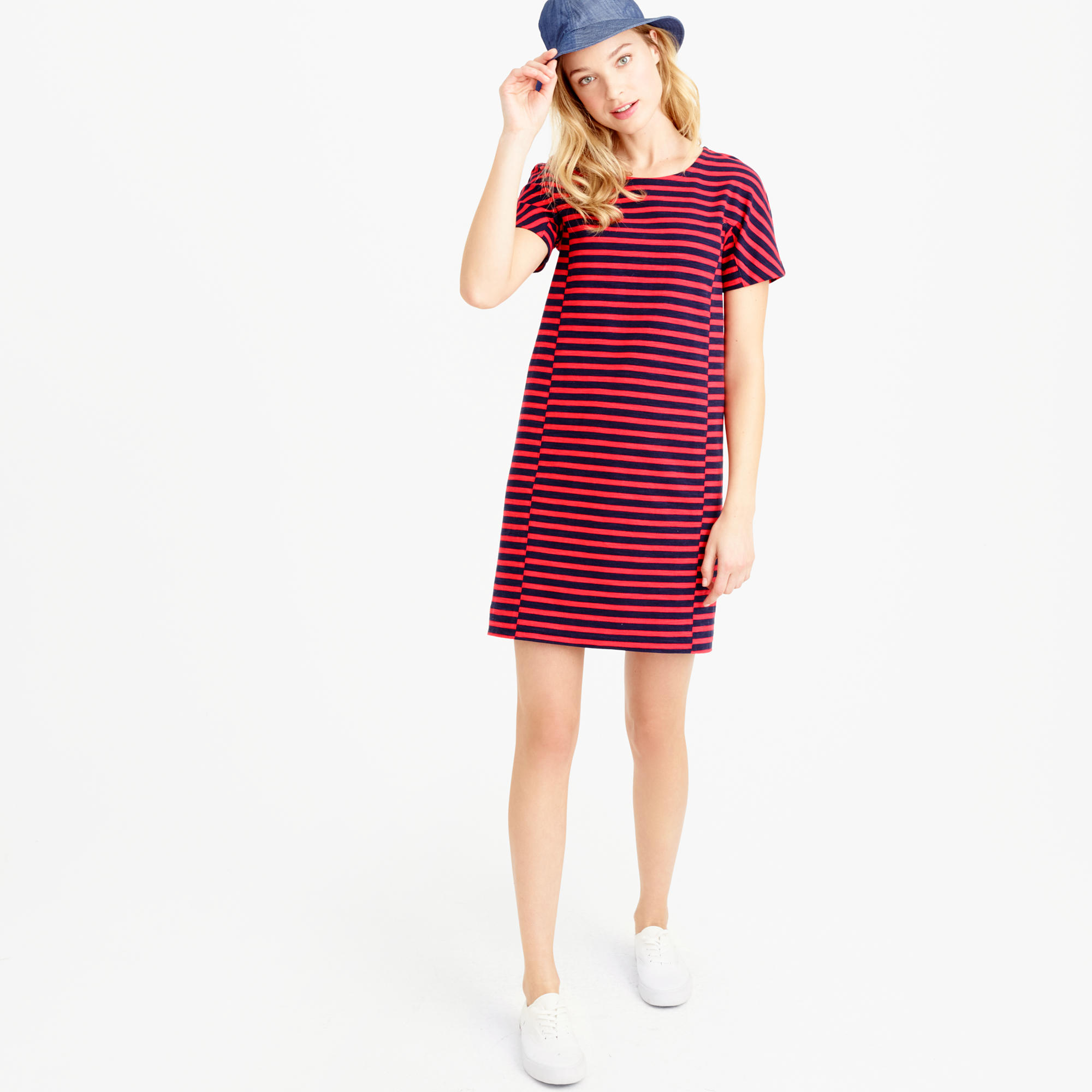 Petite striped T-shirt dress : Women dresses | J.Crew