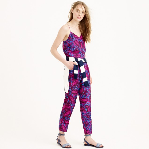Tall midnight floralsilk jumpsuit