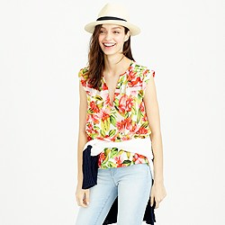 Collection sleeveless silk blouse in hibiscus